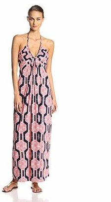 MISA Women's Braided Halter Maxi Dress