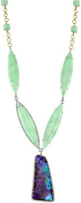 Irene Neuwirth Diamond Collectio Mint Chrysoprase, Boulder Opal & Diamond Pendant Necklace