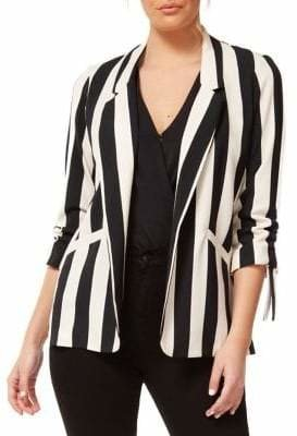 Dex Striped Open-Front Blazer