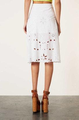 Topshop White Cut-Work Midi Skirt