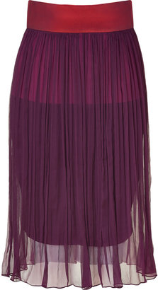 Sophie Theallet Orchid/Ruby Pleated Silk Chiffon Skirt