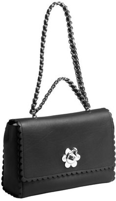 Mulberry black leather scalloped flower shoulder bag