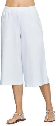 Joan Vass Petite Cropped Wide-Leg Stretch Cotton Pants