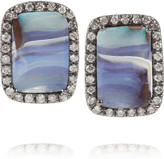 Kimberly McDonald 18-karat blackened white gold diamond and Boulder opal earrings