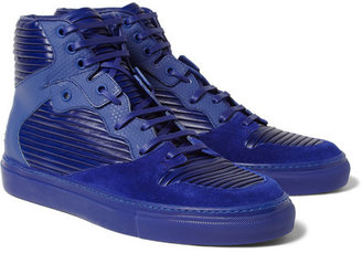 Balenciaga Panelled Leather and Suede High Top Sneakers