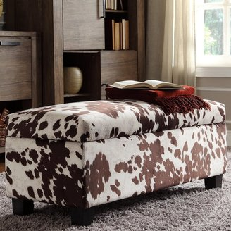 Inspire Q Sauganash Cowhide Print Lift Top Storage Bench by Bold