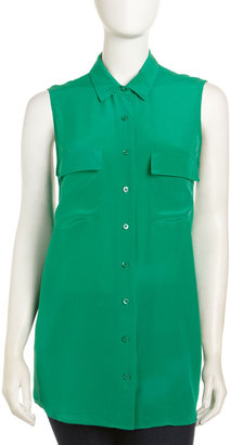 Equipment Signature Sleeveless Silk Blouse, Emerald