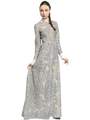 Valentino Hand Painted Embroidered Organza Dress