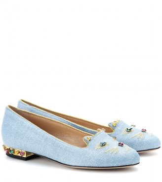 Charlotte Olympia Kitty Bejewelled embellished denim flats