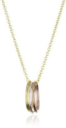 """Dogeared Jewels and Gifts """"Karma"""" Yellow and Rose Gold-Plated Sterling Silver Three-Ring Necklace"""