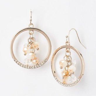 Vera Wang Simply vera gold tone simulated crystal & bead hoop drop earrings