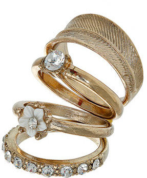 Dorothy Perkins Gold flower stone leaf ring