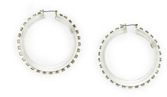 Liz Claiborne Large Clear Crystal Hoop Earring