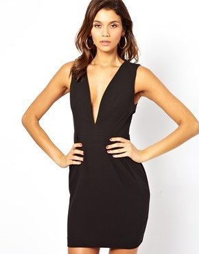 Asos Deep V Dress With Cut Out Back - Black