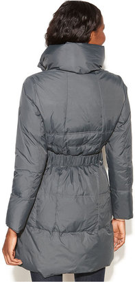 Larry Levine Quilted Belted Long Puffer Coat
