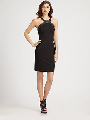 ABS by Allen Schwartz Leather-Trimmed Dress