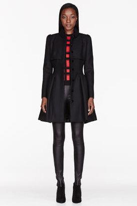 Alexander McQueen Black Felt pleated Victorian Coat