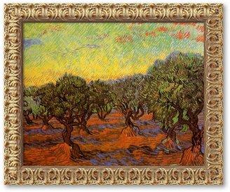 """""""Olive Grove (L'uliveto)"""" Framed Canvas Art By Vincent Van Gogh"""