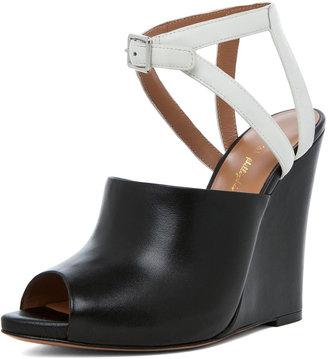 3.1 Phillip Lim Juliette Leather Wedge in Black & White