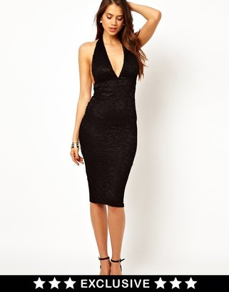 Zack John Midi Dress In Lace With Plunge Neck