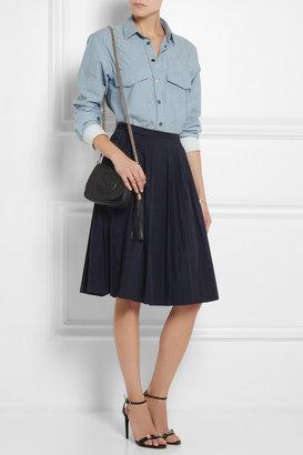 J.Crew Pleated stretch-cotton poplin skirt