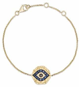 Bloomingdale's Diamond and Sapphire Evil Eye Bracelet in 14K Yellow Gold