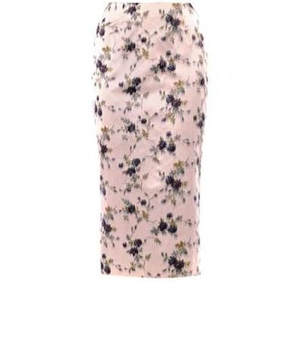 Rochas Floral-print silk pencil skirt