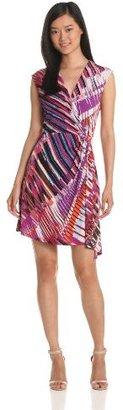 Max & Cleo Women's Faux Wrap Printed Dress