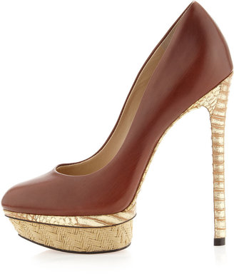 Brian Atwood B by Fontanne Mixed-Media Platform Pump, Brown