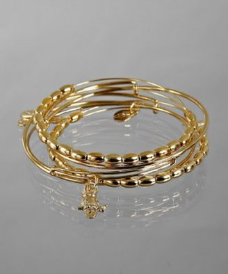 Alex and Ani set of 5 - gold oval beaded and owl charm bangles
