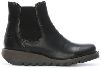Fly London Salv Black Leather Wedge Chelsea Boots