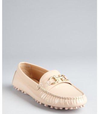 Salvatore Ferragamo new bisque patent leather gancio strapped 'Soft' loafers