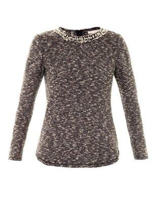 Rebecca Taylor Embellished-neckline knitted top