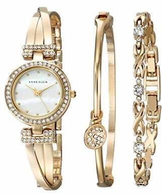 Anne Klein Women's AK/1868GBST Swarovski Crystal-Accented -Tone Bangle Watch and Bracelet Set