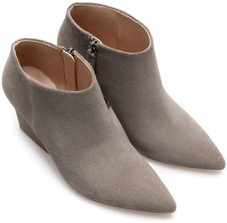 Zara Pointed Wide Heel Leather Ankle Boot