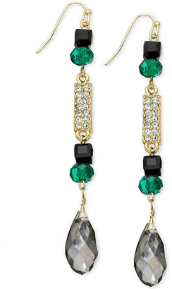 INC International Concepts Earrings, Gold-Tone Jet and Green Multi-Stone Linear Earrings
