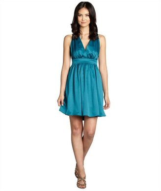 Nicole Miller teal sateen crossback pleated party dress