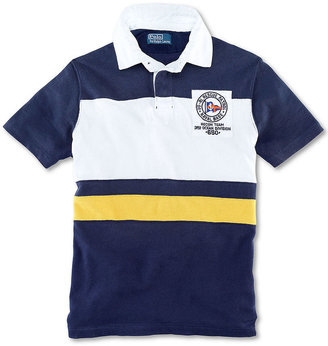 Polo Ralph Lauren Big and Tall Shirt, Classic Fit Short Sleeve Rescue Patrol Striped Rugby