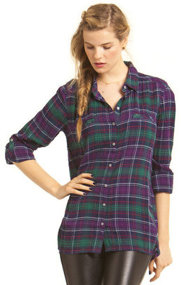 C&C California Crinkle herringbone plaid welt pocket tunic shirt