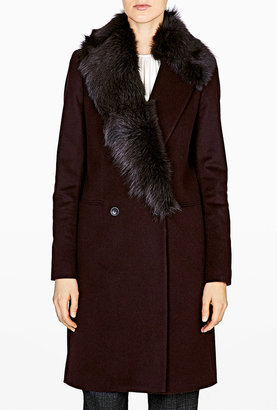 Paul Smith Black Cashmere Coat With Shearling Collar