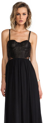 Alice + Olivia Elis Leather Structured Bodice Dress