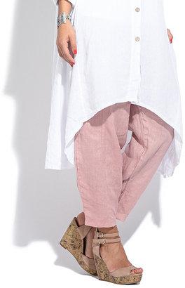 White Long Linen Button-Up