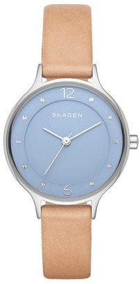 Skagen 'Anita' Crystal Index Slim Leather Strap Watch, 30mm $115 thestylecure.com
