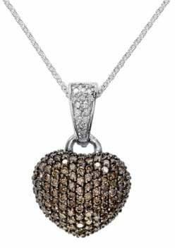 Effy 14K White Gold 0.94TCW Diamond and Espresso Diamond Heart Pendant Necklace