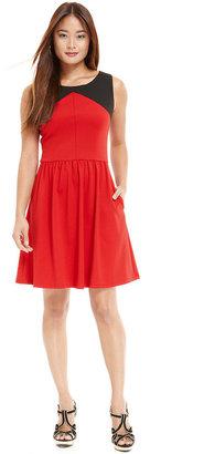 Jessica Simpson Dress, Sleeveless Cutout Colorblock A-Line