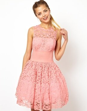 Asos Prom Dress With Elastic Waist - Pink