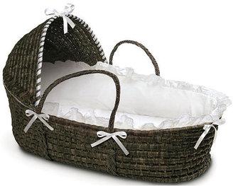 Badger Basket Toys Moses Basket with Hood & Bedding - Espresso/White