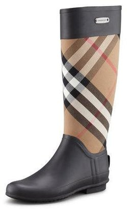 Burberry Clemence Mixed Media Rain Boot, Housecheck $325 thestylecure.com