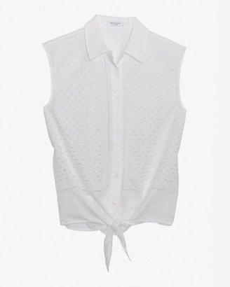 Equipment Exclusive Eyelet Embroidery Hem Tie Sleeveless Blouse