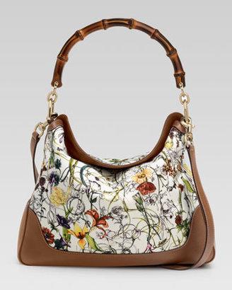 Gucci Diana Floral Canvas Bamboo Shoulder Bag